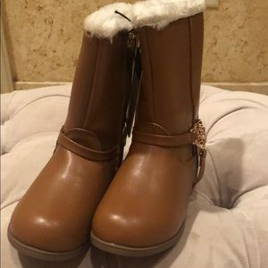 Bebe Brown Faux Fur Girls Brown Boots size 9
